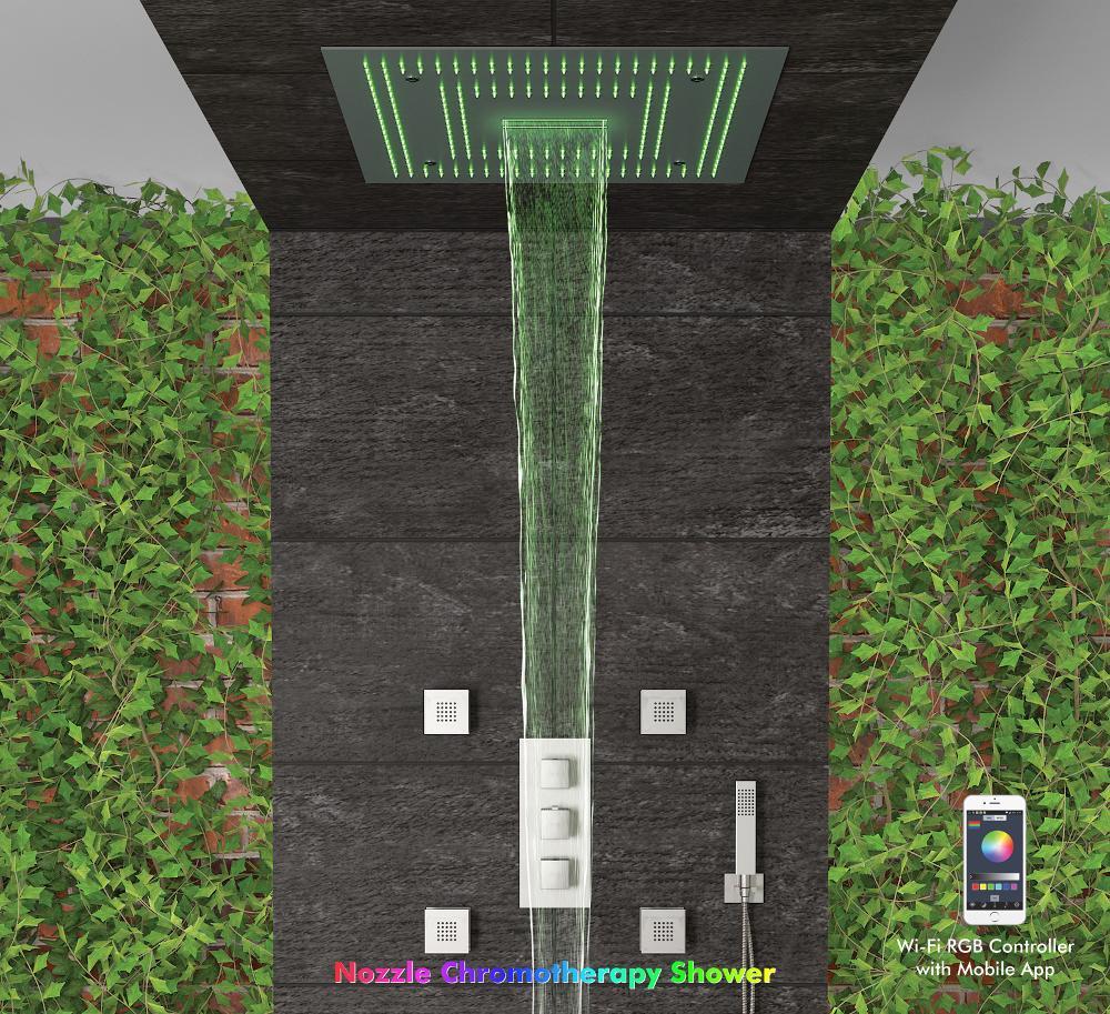 Orion-Premium Dual LED Waterfall Bath,Colston, Nozzle Chromotherapy Showers, Showers-Shower Panels ,Multi Function Showers
