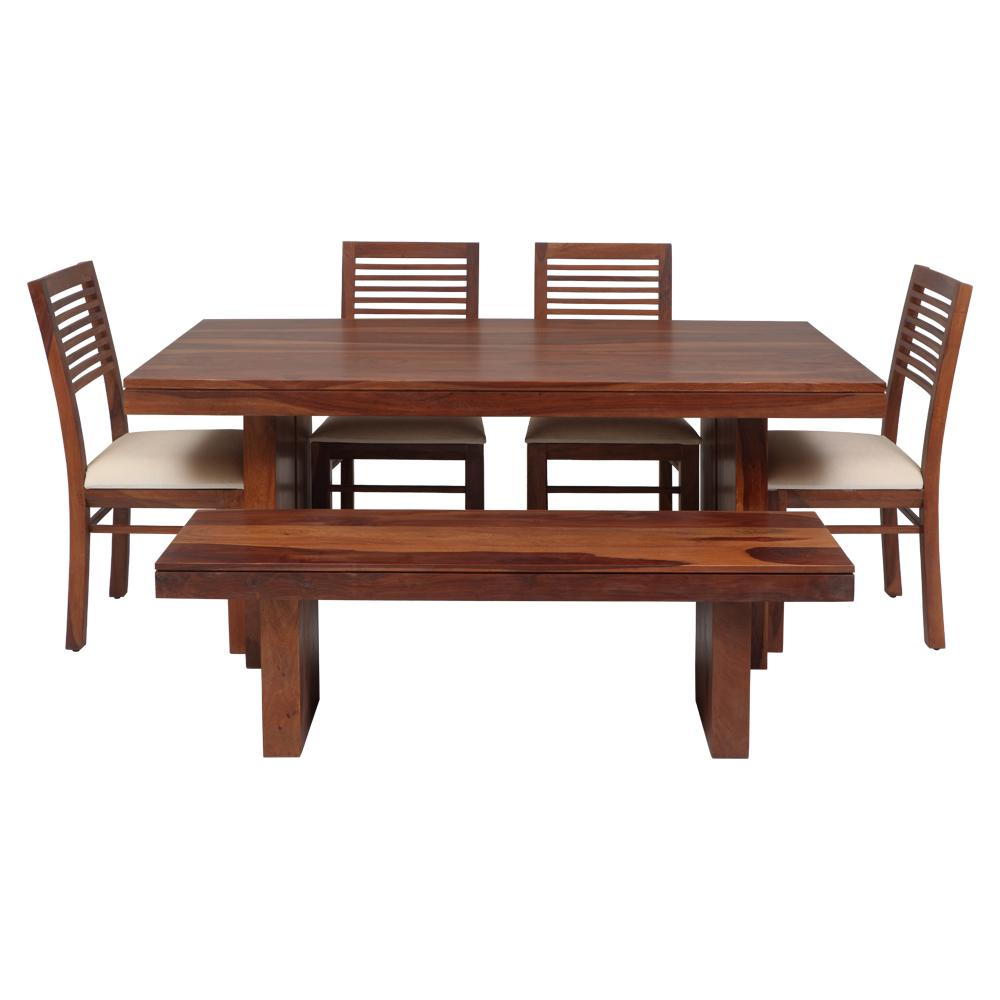 Newyork New Solidwood Dining Set 1 T - 4 C - 1 B Brown,Evok, Dining Sets