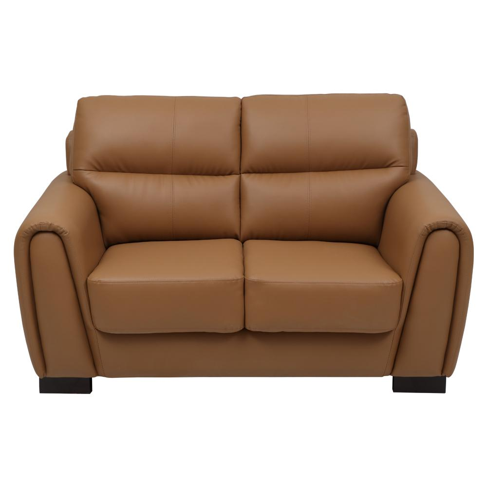 Webster Leatherette 2 Seater Sofa-Light Brown,Evok, Sofas-Couches ,Sectional Sofas