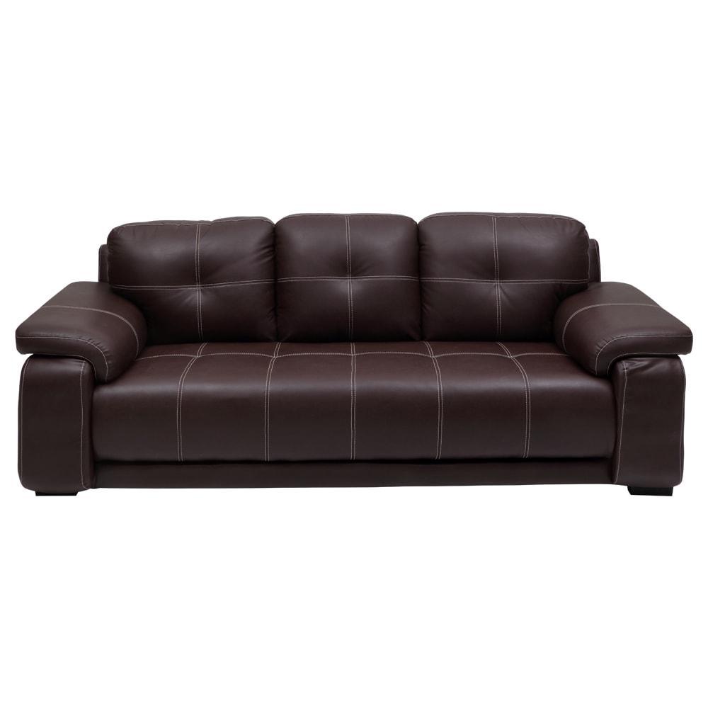 Marina New Leatherette 3 Seater Sofa-Dark Brown,Evok, Sofas-Couches ,Sectional Sofas