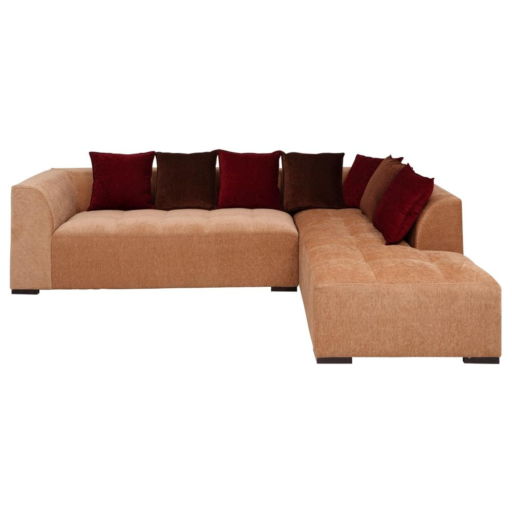 Roland Fabric L-Shape Sofa Right-Light Brown-Burgundy,Evok, Sofas-Couches ,Sectional Sofas