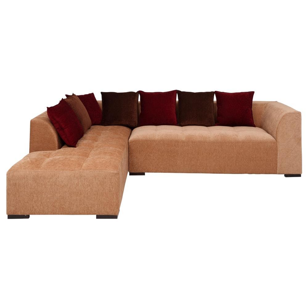 Roland Fabric L-Shape Sofa Left-Light Brown-Burgundy,Evok, Sofas-Couches ,Sectional Sofas